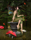 Beautiful fairy sits on a pedestal into the forest — Stock Photo