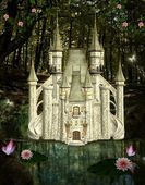 Enchanted castle in the middle of the forest — Foto Stock