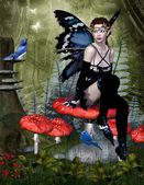 Fairy sits on a mushroom — Stock Photo