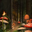 Enchanted nature series - Mushrooms path — Stock Photo