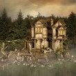 Stockfoto: Fantasy house in enchanted lake