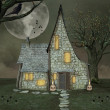 Halloween witch house — Stock Photo