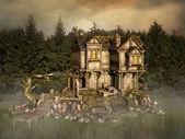 Fantasy house in an enchanted lake — Stock Photo