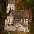 Strange house in the middle of the forest by sunset — Foto de Stock
