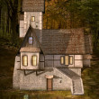 Strange house in the middle of the forest by sunset — Stock Photo