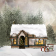 Stock Photo: Winter cottage in fabulous scenery