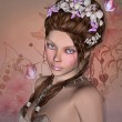 Beautiful woman with orchids in her hair — Stock Photo