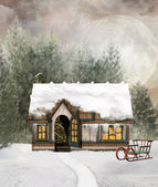Winter cottage in a fabulous scenery — Stock Photo