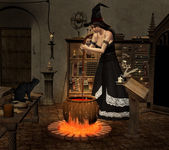 Witch boiling a potion — Stock Photo