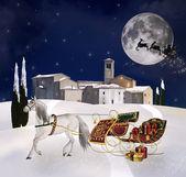 Santa's sleigh in a silent nigh — Foto Stock