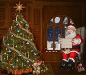 Santa Claus reads a letter — Stock Photo