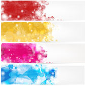 Abstract headers with watercolors stains — Stock Vector