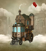 Steampunk curious house — Stock Photo
