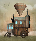 Steam punk surreal house — Stock Photo
