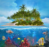 Enchanted island and coral reef — Stock Photo