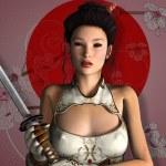 Beautiful girl with sword — Stock Photo #48544975