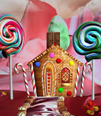 Fantasy house in a candy land — Stock Photo