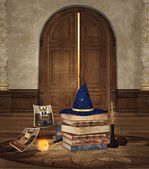 Wizard hat and magic objects — Stock Photo