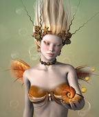 Gold mermaid with shell — Stock Photo