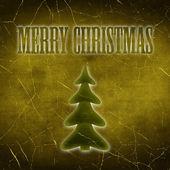 题字与圣诞树圣诞快乐 — 图库照片