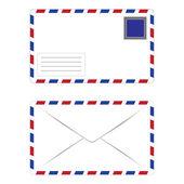 Białe koperty z znaczek — Wektor stockowy