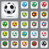 Set Icons the Colored Footballs — Stock Vector