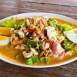 Winged bean seafood and chili salad delicious thai food — Stock Photo
