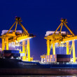 Crane working with container cargo in shipyard at dusk — Stock Photo