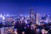 Aerial view of chaopraya river in bangkok at twilight night — Stock Photo