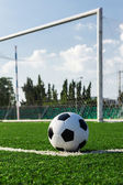 Soccer ball on green grass in front of goal net — Stock Photo