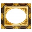 Golden wood frame isolated with clipping path — Stock Photo