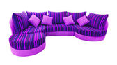 Blue sofa isolated with clipping path — Stock Photo