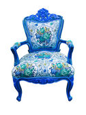 Blue luxury armchair isolated with clipping path — Stock Photo