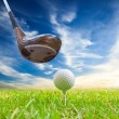 Driver hit golf ball on tee — Stock Photo #27536773