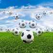 Soccer ball line to goal — Stock Photo