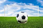Soccer ball on green grass field — Stock Photo