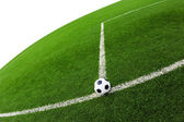 Soccer ball on green grass field isolated — Stock Photo