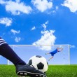 Foot shooting soccer ball to goal, penalty — Stock Photo