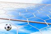 サッカー ボールがネットの目標であります。 — ストック写真
