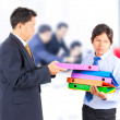 Business man giving jobs to worker — Stock Photo
