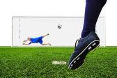 Fuß, schießen, fußball, tor — Stockfoto