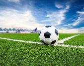 Soccer ball on green field — Stock Photo