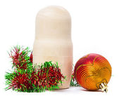 Matryoshka with christmas-tree decoration — Stock Photo