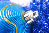 Macro of blue christmas-tree ball — Zdjęcie stockowe