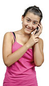 A girl talking to a phone — Stock Photo
