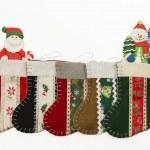 Arrange of Christmas sock with Santa and Snow man — Stock Photo