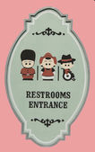 Restroom entrance sign isolated on pink background — Stock Photo