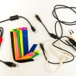 Colorful marker straps with wire and cables — Stock Photo