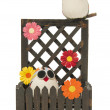 Couple owl with flower on the wooden fence — Stock Photo