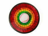 Baseball in Colorful Ceramic glass plate isolated on white background — Stock Photo